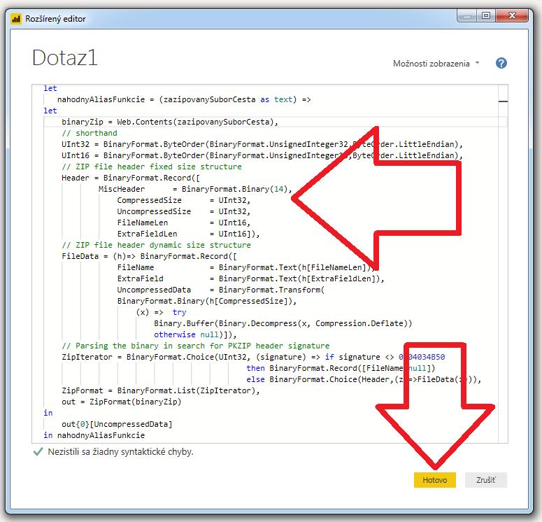 Načítanie údajov zo ZIP súboru - kód v jazyku M